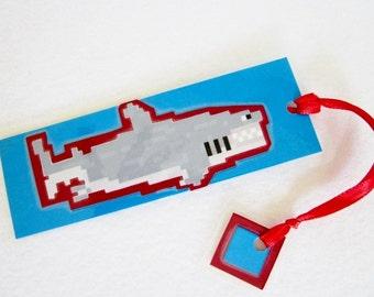 Shark Bookmark, Pixel Art, Great White Shark, Geeky Bookmark, Children's Bookmark, Boy's Bookmarks, Fish Bookmark