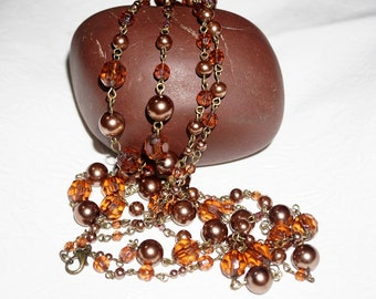 Long 56 inch Amber Beaded Necklace, Flapper Length Beaded Single Strand Necklace, Ladies Vintage Jewelry