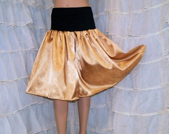 Gold Marble Print SatinTwirl Skirt  Adult Large- MTCoffinz - Ready to Ship