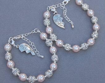 Mother Daughter Bracelet, Mother Daughter Gift, Mom Gift , Mothers Day Gift, Broken Heart Jewelry, Set of 2 Bracelets