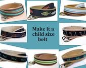 Khaki Belt for Boys Girls Toddlers / Canvas Belt, D-ring Belt, Ribbon Belt - Whale Golf Aligator Duck Striped Lacrosse Lobster Flamingo Boat