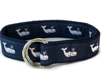 Boys D-ring Belt White Whale / Toddler Belt 1 inch Wide / Babies Belt Nautical Belt Navy Blue Canvas Belt Infant Belt