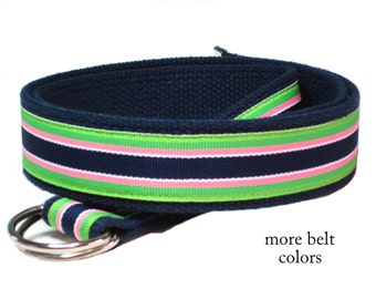 Canvas Belt Green Pink Navy Striped Belt / Gifts for Men / D-ring Belt Ribbon Belt - Bahama Breeze in sizes XS to Big and Tall Man Belt