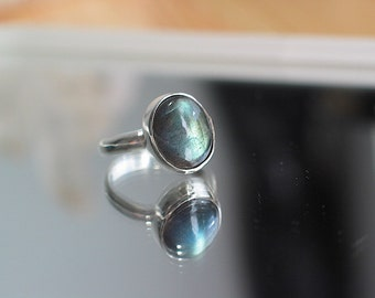 Labradorite Ring, Sterling Silver Ring, Custom Jewelry, Made to Order, Choose Your Size