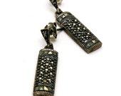 Vintage Maracasite Sterling Silver Post Earrings Stud Earrings Retro Dangle Urban