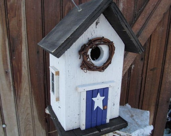 White Birdhouse Purple Door Grapevine Wreath Metal Star Black Roof and Base Bottom Removes for Clean out