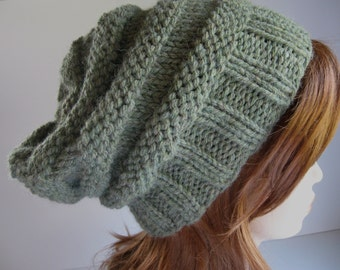 Slouchy Knit Hat,  Knit Chunky Hat, Beehive Slouchy Hat - Willow