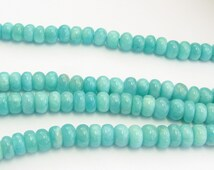 Peruvian Opals Smooth Rounded Rondelle Spacer Gemstone Beads Pretty Aqua Blue 8mm (10 beads)