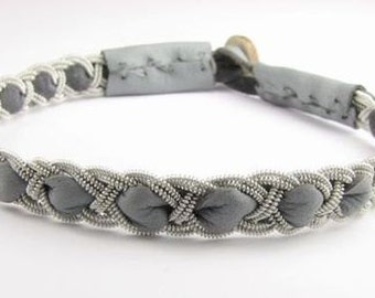 Gray Kyra style Sami Bracelet - Leather Wrap Tin Metal Thread Braided Bracelet with Reindeer Leather and Antler Button Clasp