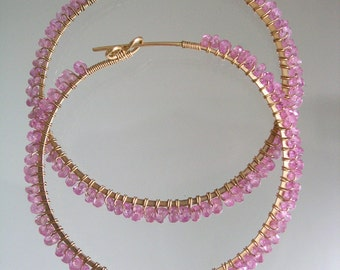 Pink Sapphire Gold Hoops, Wire Wrapped Earrings, Hand Wrought, Gemstone Hoops, Distinctive Jewelry, Original Design 1990's, Made to Order