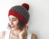NEW! Dark Gray - Red Hat with Pon Pon by Afra