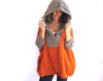 Plus Size Hand Knitted Sweater with Hoodie - Tunic - Dress by Afra