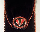 Leather Cell Phone Holder Handstitched with Black & Red Beads and Vintage Jewelry Phone Pouch