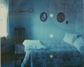 Blue Beach House Bedroom Polaroid Print with Yellow Dots - Expired SX-70 Film Flaws - Bedroom Still Life in Dreamy Blue