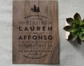 Woodland Rustic Pines Real Wooden Wedding Invitation
