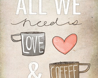 Canvas art print- Coffee and love - Beautifully textured neutral, coral illustrated art print. Order as an 8x10 11x14 or 16x20 size.