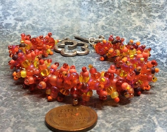 handmade cha cha like woolly worm bracelet titled Autumn