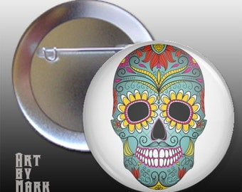 Sugar Skull Day Of The Dead 1.25 inch - Pinback Button