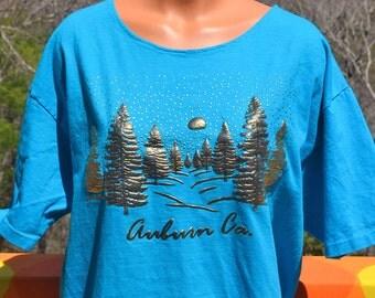 vintage 80s women's tee CALIFORNIA auburn gold shiny glitter boat neck t-shirt XL large long teal