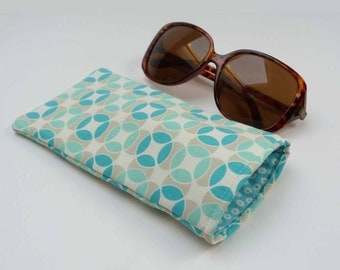 Turquoise blue and grey geometric fabric glasses case