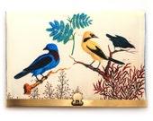 Wallet clutch, blue and yellow bird bag, brass purse clasp, zipper bag, VICTORIAN BIRDS