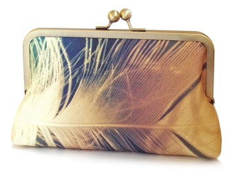 Clutch bag, feather purse, gold plumage, printed silk, gift box, FEATHER SHIMMER