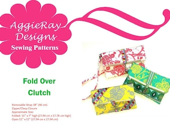 INSTANT DOWNLOAD PDF Sewing Pattern Fold Over Clutch 3 Designs-- Create and Sell Product