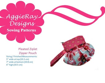 INSTANT DOWNLOAD pdf Wristlet Sewing Pattern: The Pleated Ziplet Create and Sell