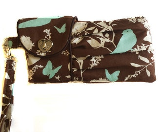 Pleated Floral wristlet pouch clutch/Swallow Study Brown Light Blue/Home Decorator Fabric/Credit card holder/ready to ship