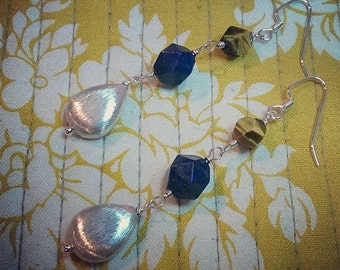 Sacred Geometry .  Lapis Lazuli . Tigers Eye .  Sterling Silver Drop Earrings