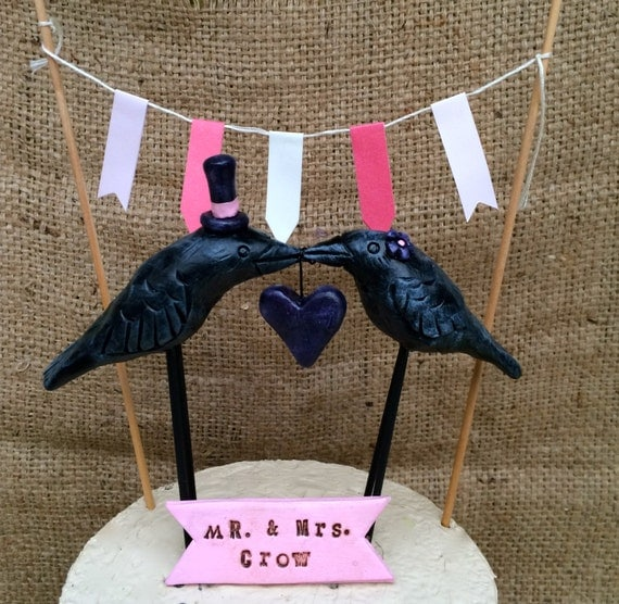 Kissing Crows Wedding cake topper- banner- and paper bunting combo with your wedding colors