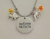 Disney inspired Lion King necklace HAKUNA MATATA Simba pumba no worries hand stamped disney jewelry charm necklace