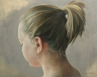 Threshold original oil classical portrait narrative figurative painting by Kimberly Dow