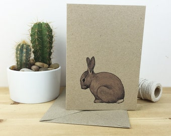Rabbit card - animal illustration - bunny print recycled eco friendly kraft card
