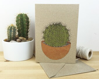 Cactus card (no.4) illustrated pot plant cacti - eco friendly recycled kraft card