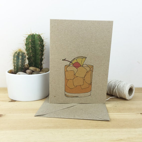 old fashioned cocktail card (with recipe) 100% recycled