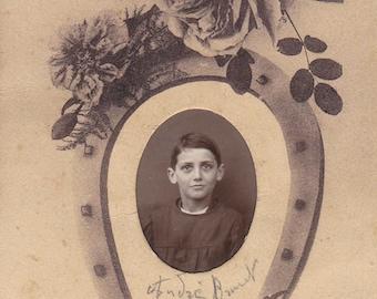 Vintage Antique 1910/1920 French real photography portrait /postcard sepia boy