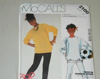 Vintage McCalls 2100 Girls Oversized Top Leggings The Gap Size 14 11076