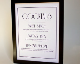 Printable Cocktail Signature Drink Bar Sign Custom DIY You Print Your Menu Reception Sign
