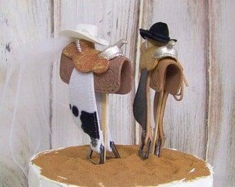 Western Saddle Cake Topper-Wedding Cake Topper-Bride and Groom Cake Topper, Rustic Cake Topper, Barn Wedding