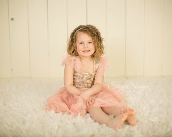Blush Chiffon and Gold Sequin Girls Dress, Birthday Outfit, Smash the Cake, Pink and Gold Dress, Ready To Ship, Flower Girl, First Birthday