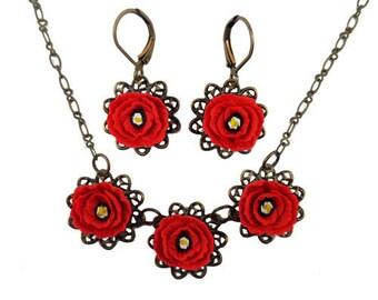 Poppy Jewelry Set - Trio Poppy Jewelry, Filigree Flower Jewelry, Poppy Gift Idea