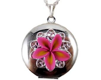 Plumeria Locket Necklace - Frangipani Locket, Plumeria Jewelry