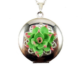 Pink Tip Succulent Locket Necklace - Pink Tip Succulent Jewelry Collection