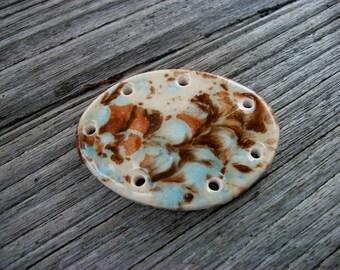 Handmade Ceramic Pine Needle Basket Base in Mocha Marbled Glaze