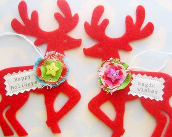 Felt Reindeer Christmas Ornaments with Flowers Set of Two
