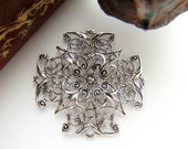 SILVER Cross Filigree Stampings - Jewelry Antique Silver Findings (CB-3043) #