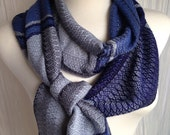 Shades of Gray with Blues and Silver Handwoven Scarf DBJ 32