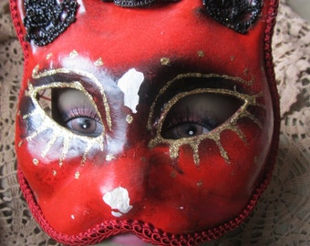 Vintage Red Cat Paper Mache Mask, Party, Masquerade, Needs Repair Ships Worldwide