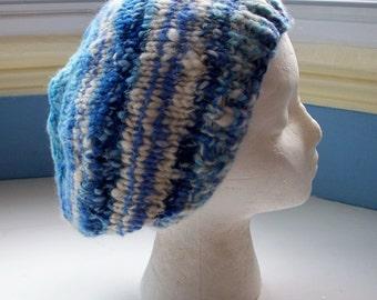 Handspun beanie hat, knit, classic rustic spun, chunky warm hat
